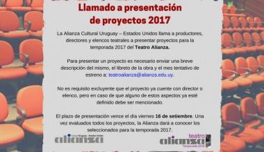 Llamado a proyectos para la temporada 2017 del Teatro Alianza.